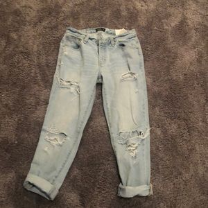A&F Light Wash Ripped Boyfriend Jeans